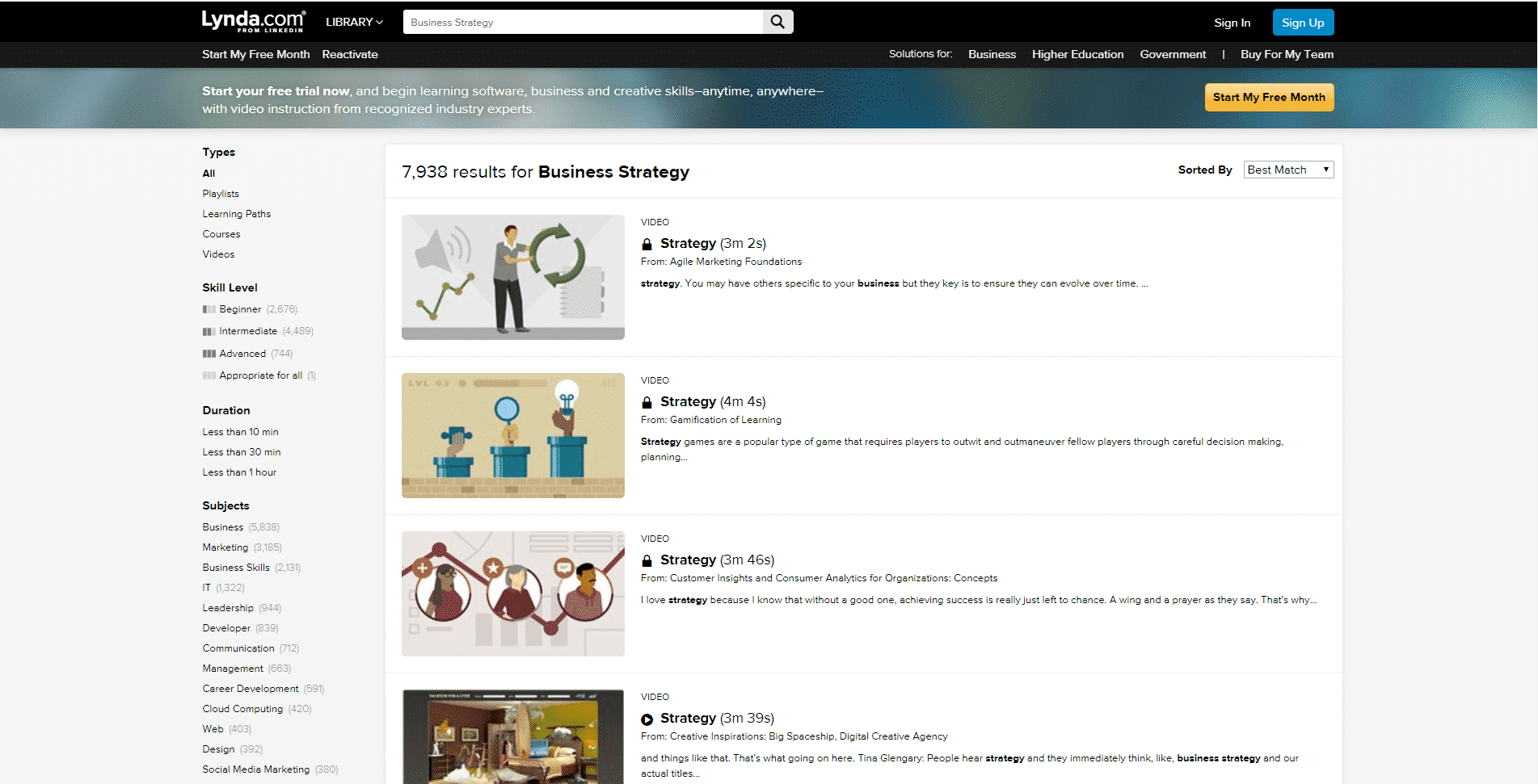 Lynda Learn Business Strategy Lessons Online