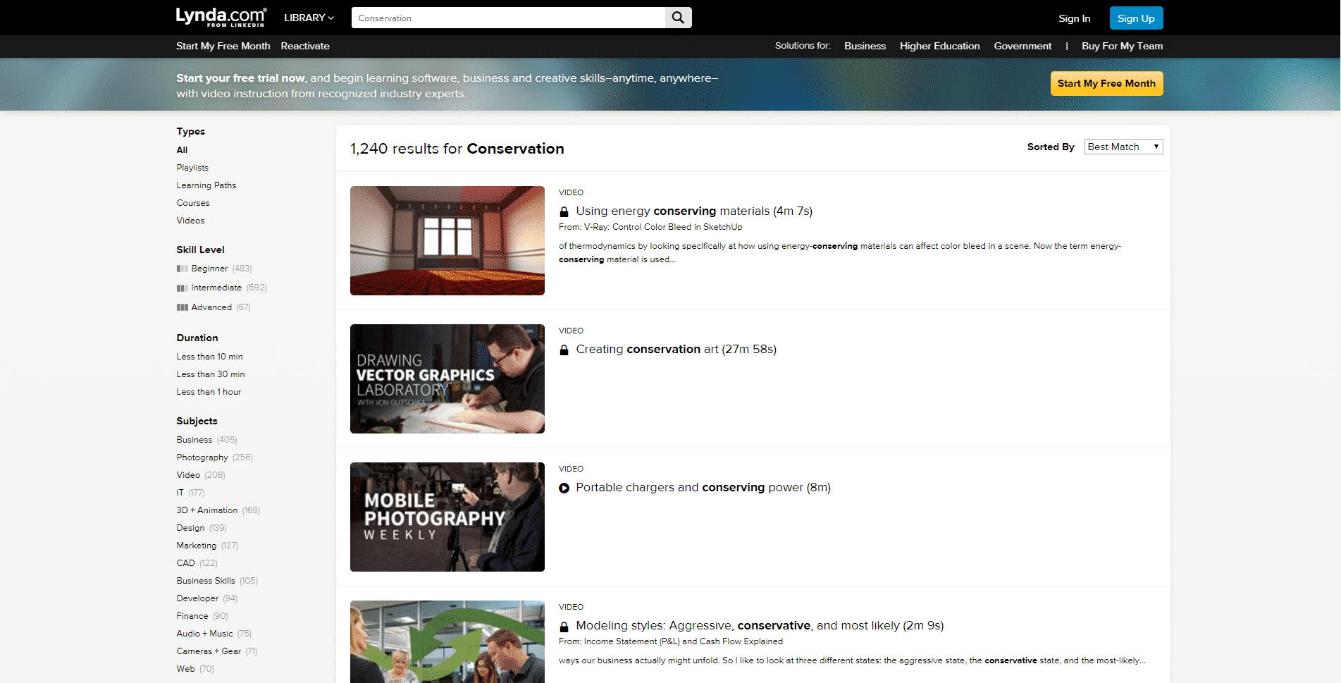 Lynda Learn Conservation Lessons Online