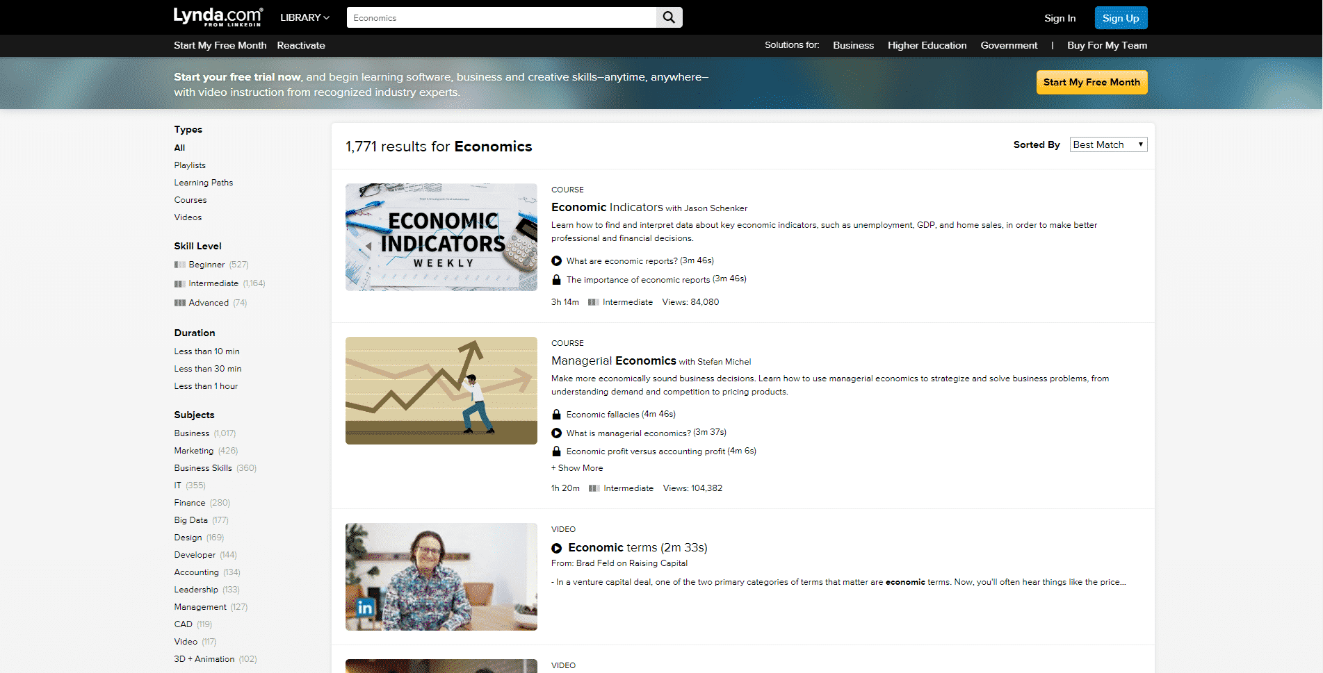 Lynda.Com Learn Economic Lessons Online