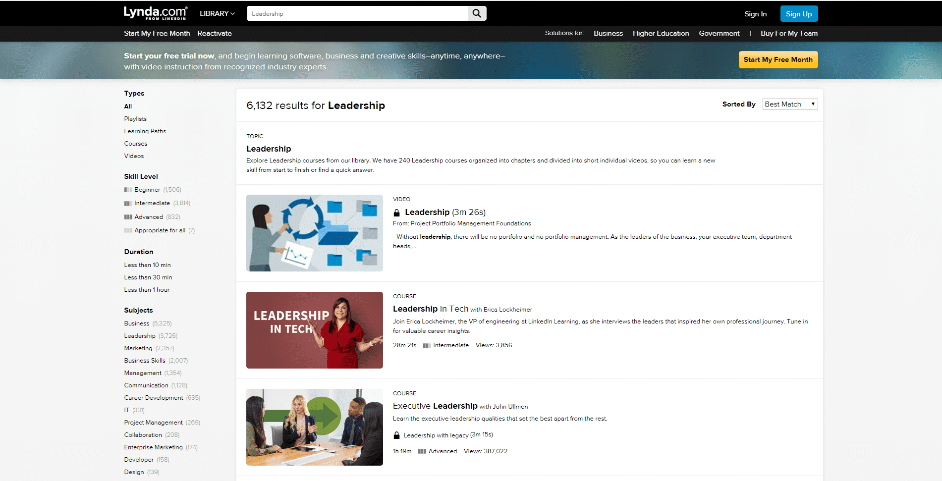 Lynda.com Learn Leadership Lessons Online