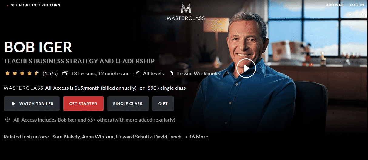 MasterClass Bob Iger Learn Business Strategy Lessons Online