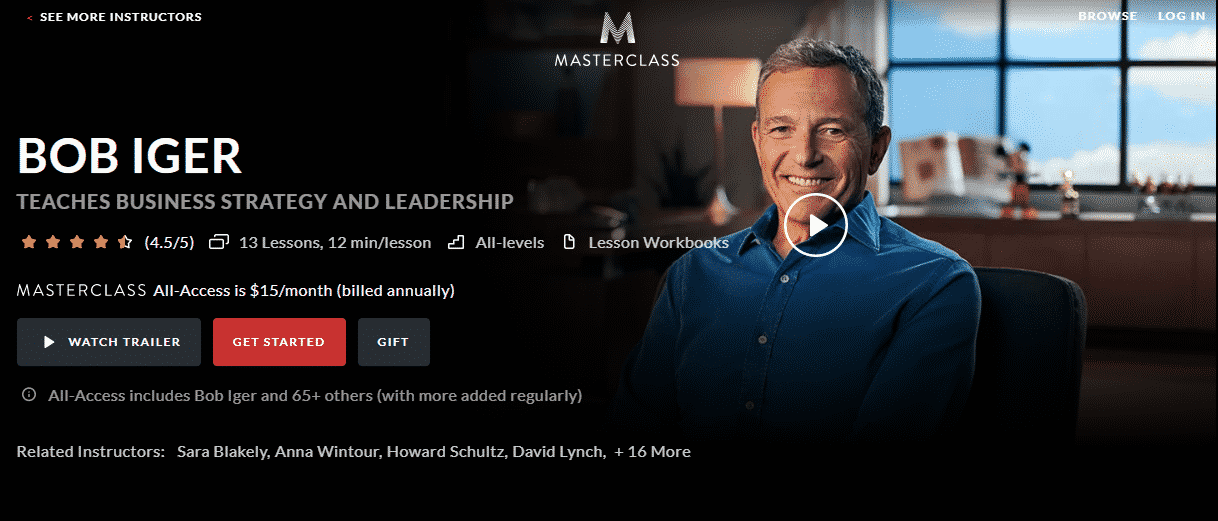 MasterClass Bob Iger Learn Leadership Lessons Online