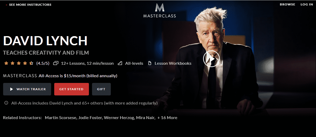 MasterClass David Lynch Learn Creativity Lessons Online