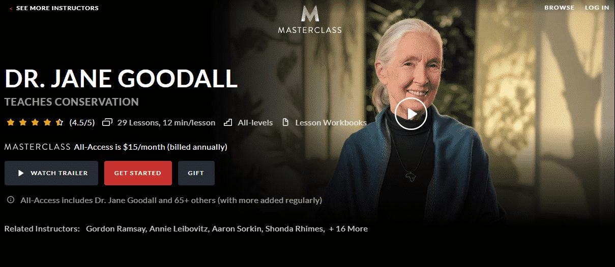 MasterClass Dr. Jane Goodall Learn Conservation Lessons Online