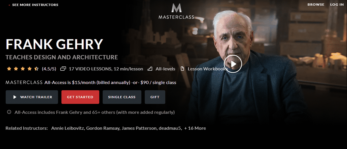 MasterClass Frank Gehry Learn Design and Architecture Lessons Online
