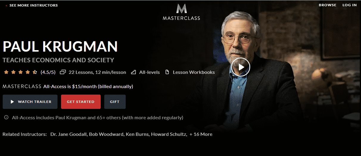 MasterClass Paul Krugman Learn Economic Lessons Online