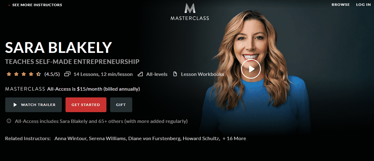 MasterClass Sara Blakely Learn Entrepreneurship Lessons Online