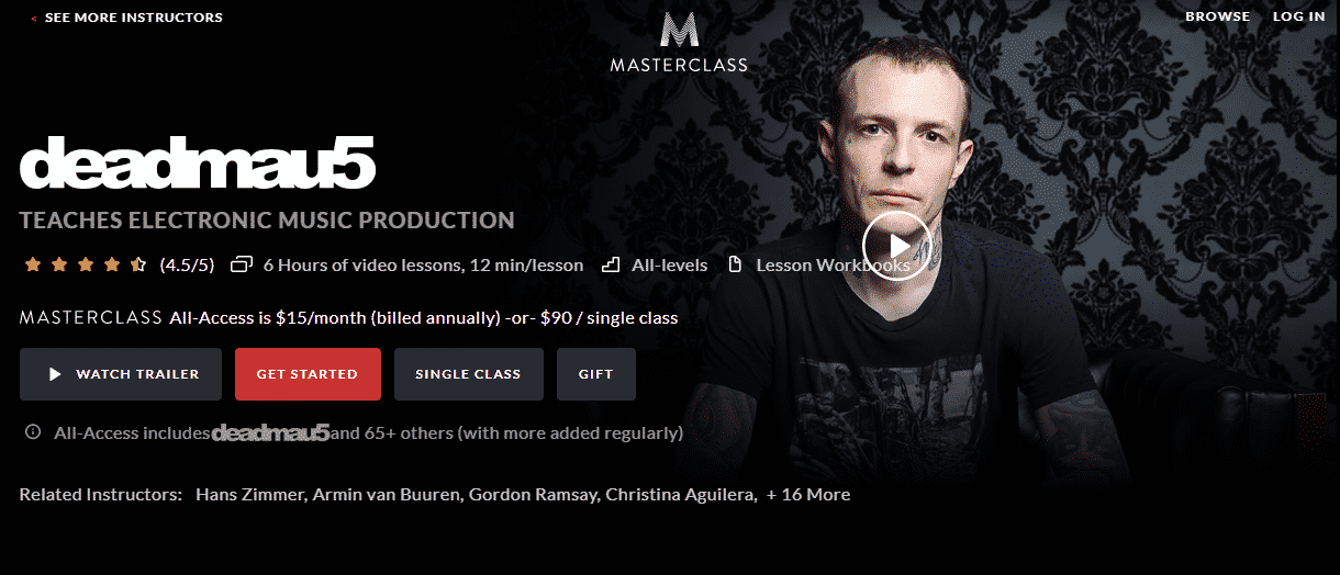 MasterClass deadmau5 Learn Music Production and Beatmaking Lessons Online