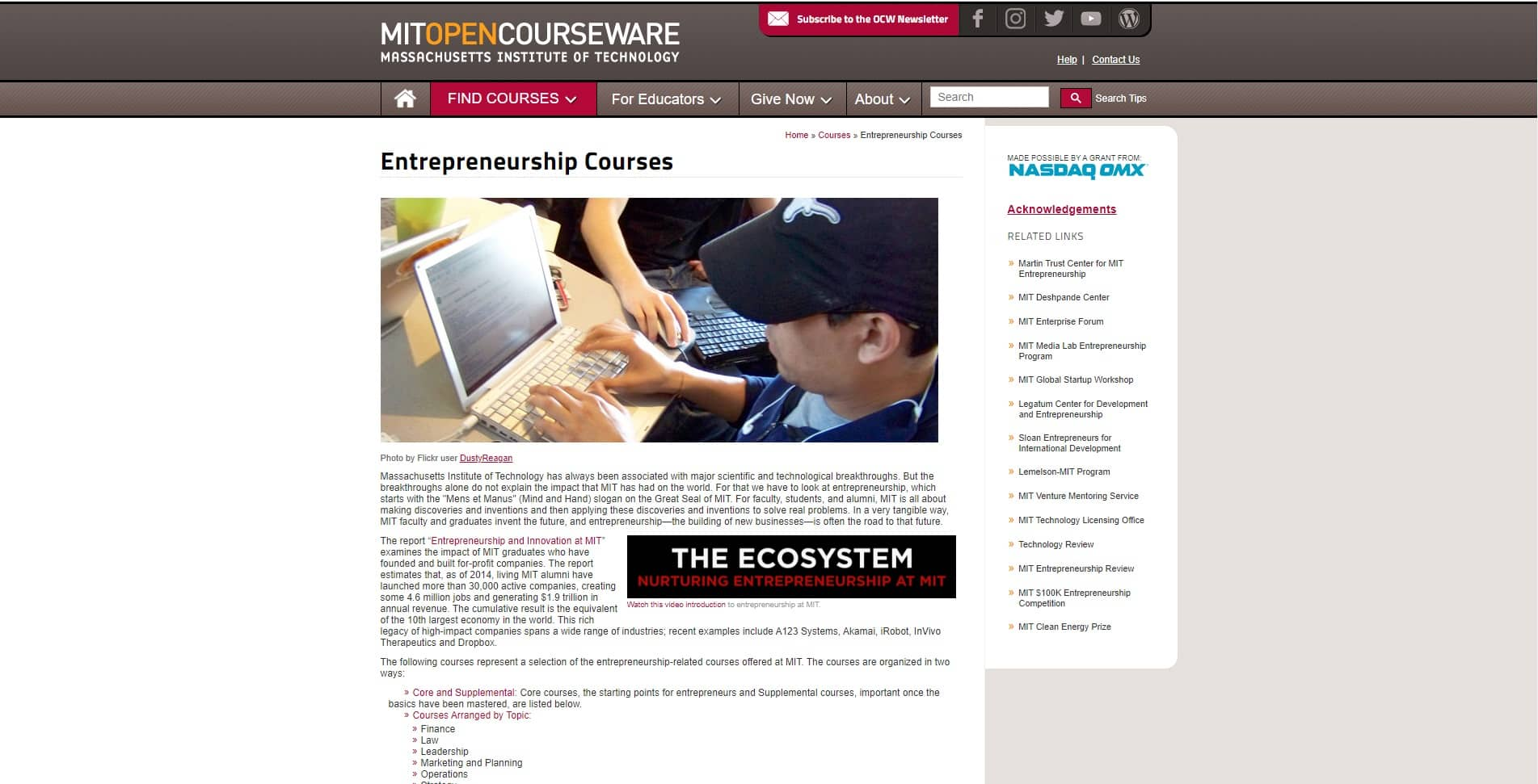 Online Courseware By M.I.T Learn Entrepreneurship Lessons Online