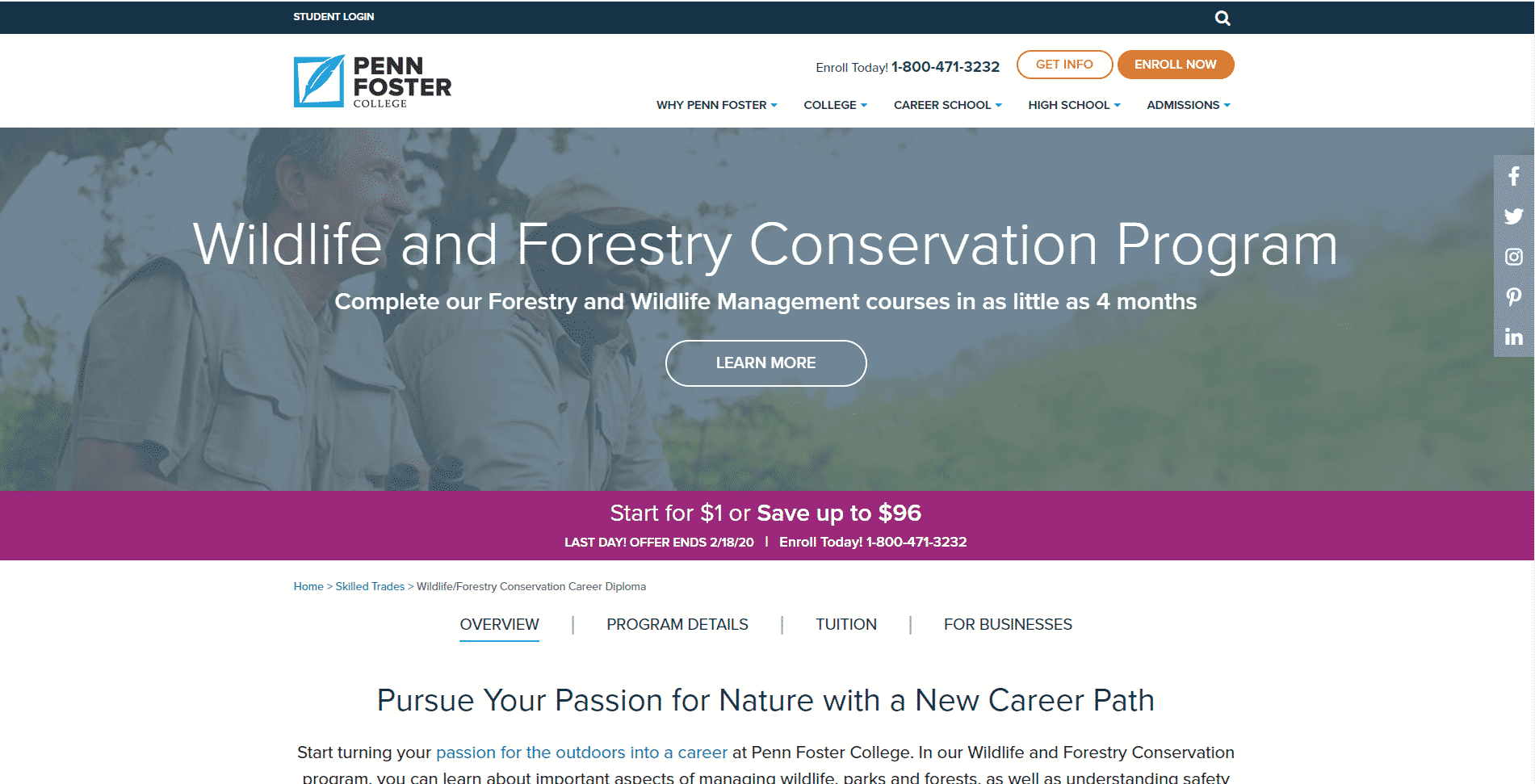 Penn Foster College Learn Conservation Lessons Online