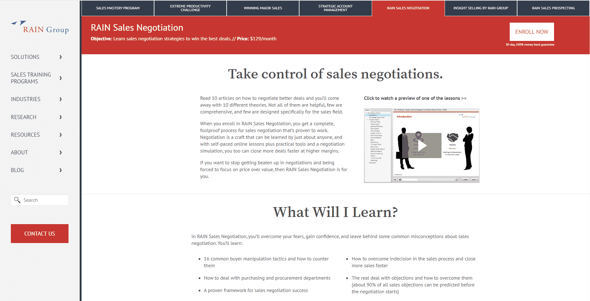 Rain Sales Training Learn Negotiation Lessons Online