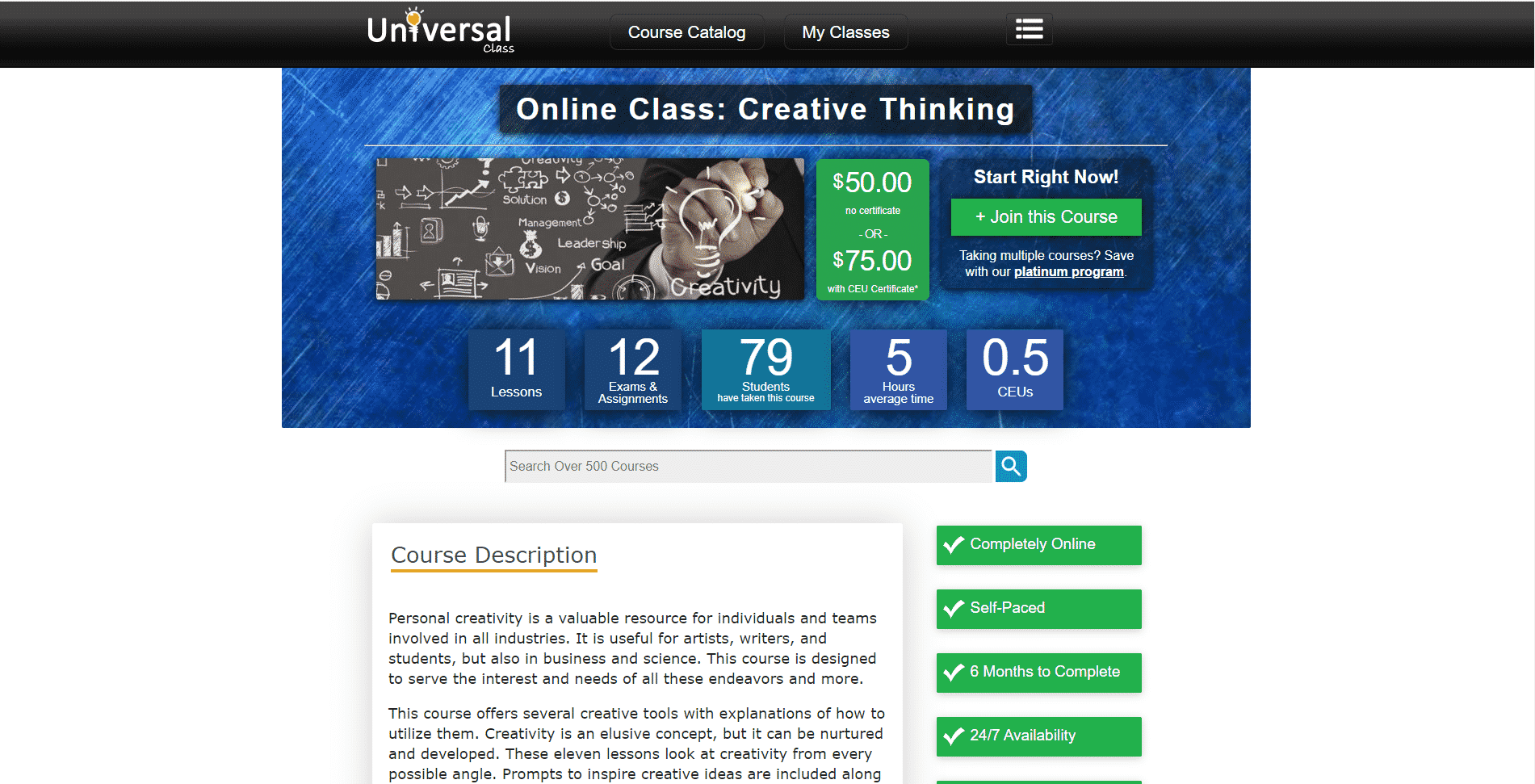 Universal Class Learn Creativity Lessons Online