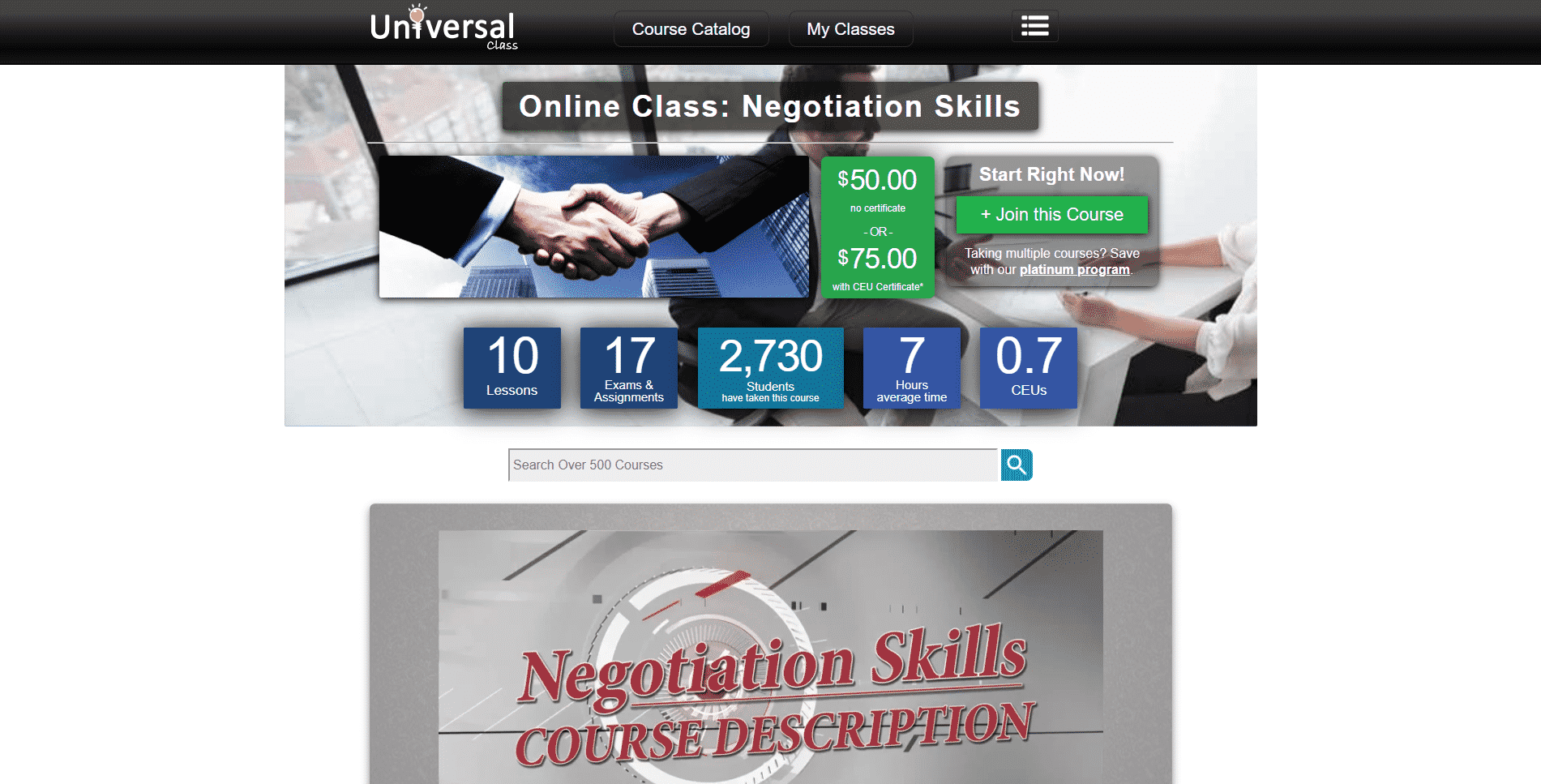 Universal Class Learn Negotiation Lessons Online