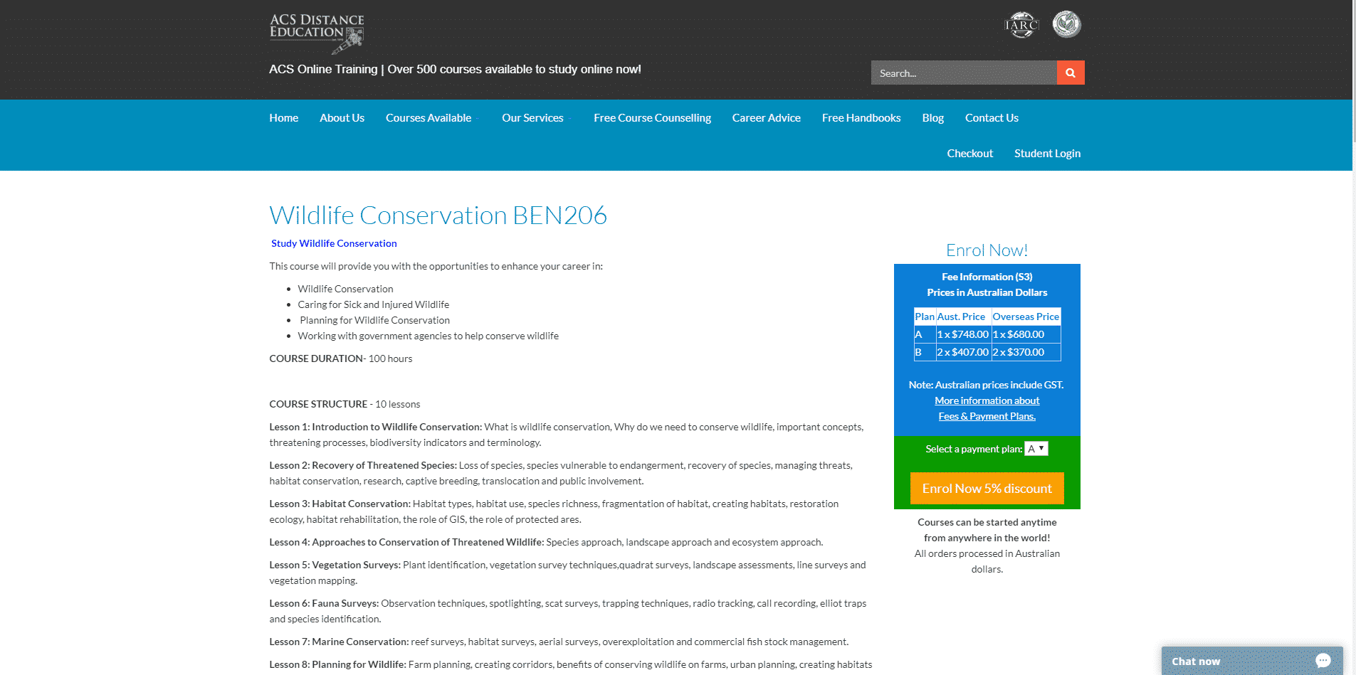Wildlife Conservation BEN206 Learn Conservation Lessons Online