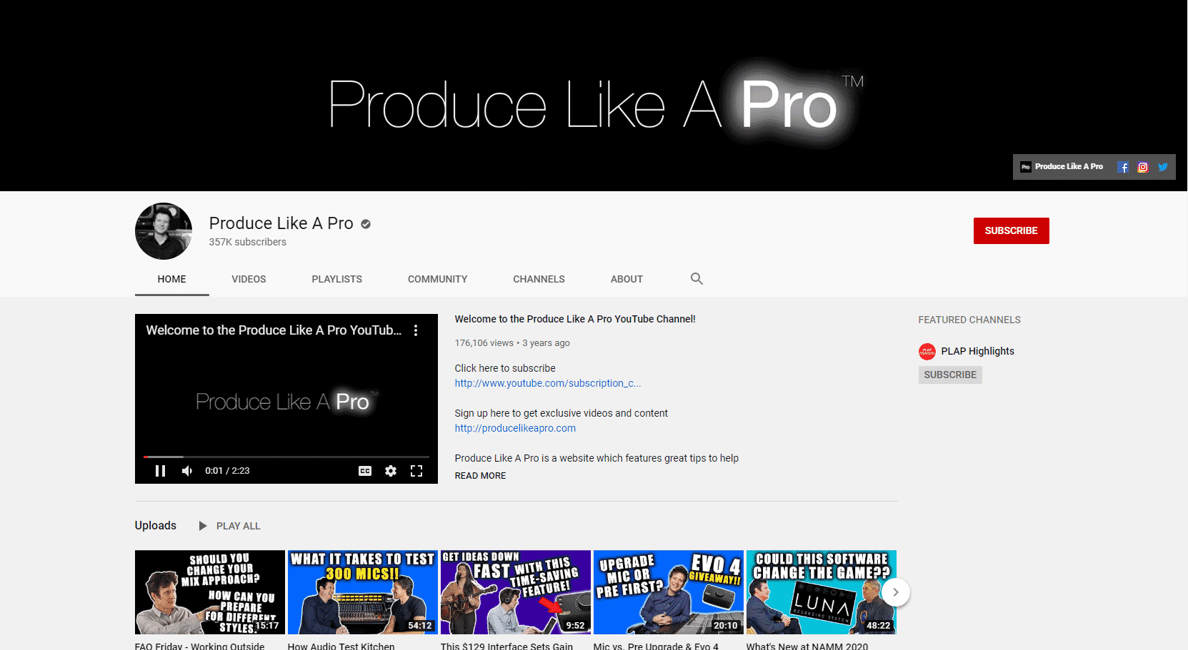 YouTube – Online Music Production Lessons