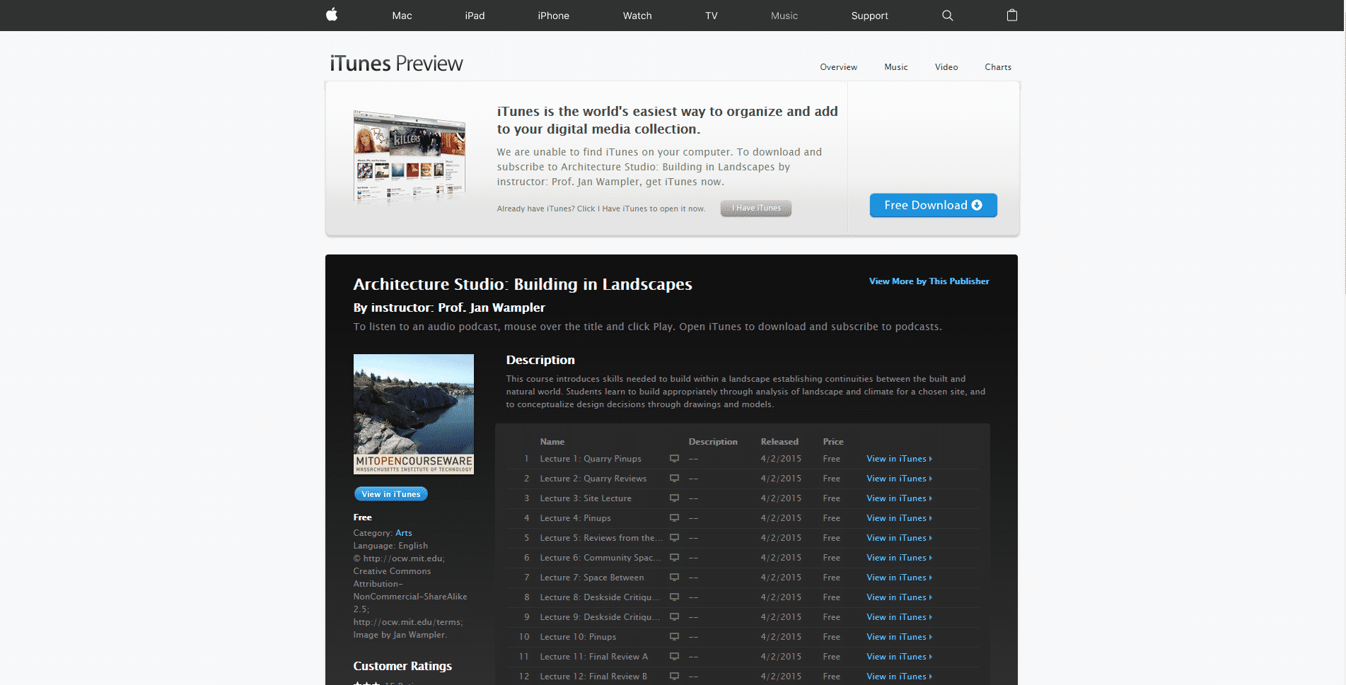 iTunes Learn Design and Architecture Lessons Online