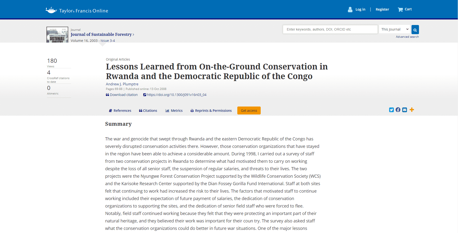 tandfonline Learn Conservation Lessons Online