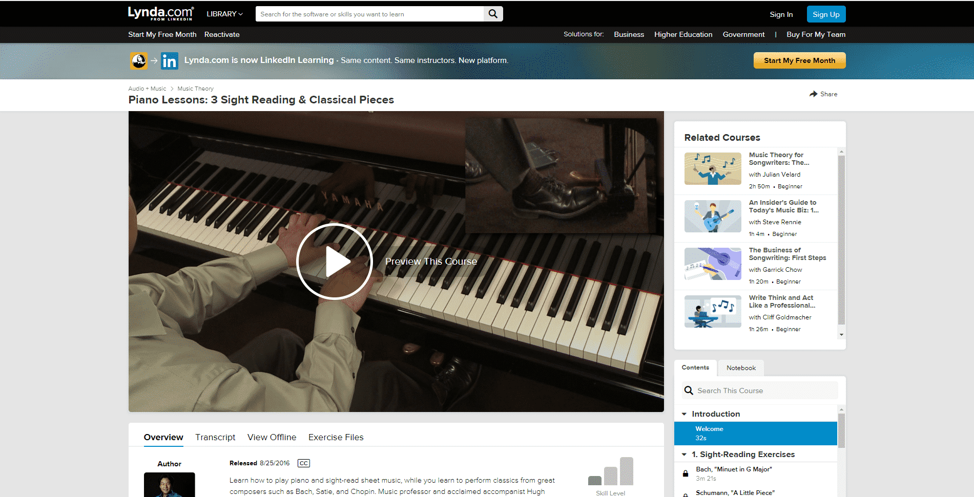 Lynda Course 2 Piano Lessons Online
