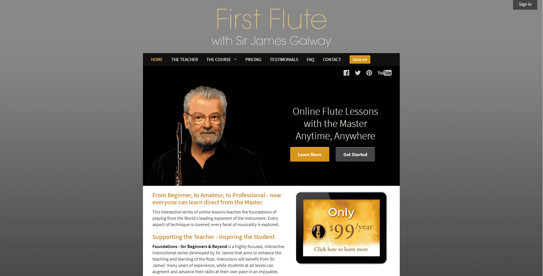 Sir James Galway Flute Lesson Online