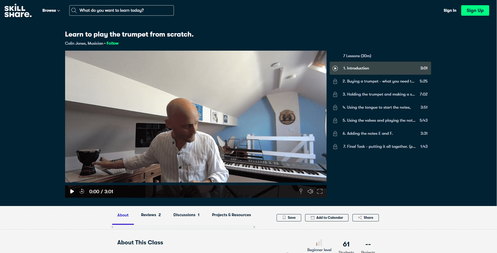 Skillshare Course 1 Trumpet Lessons Online
