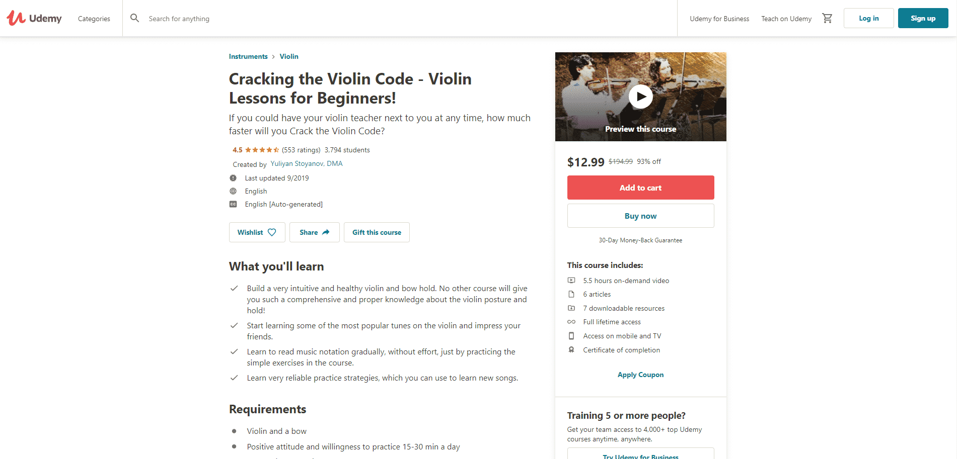 Udemy Course 2 Violin Lessons Online