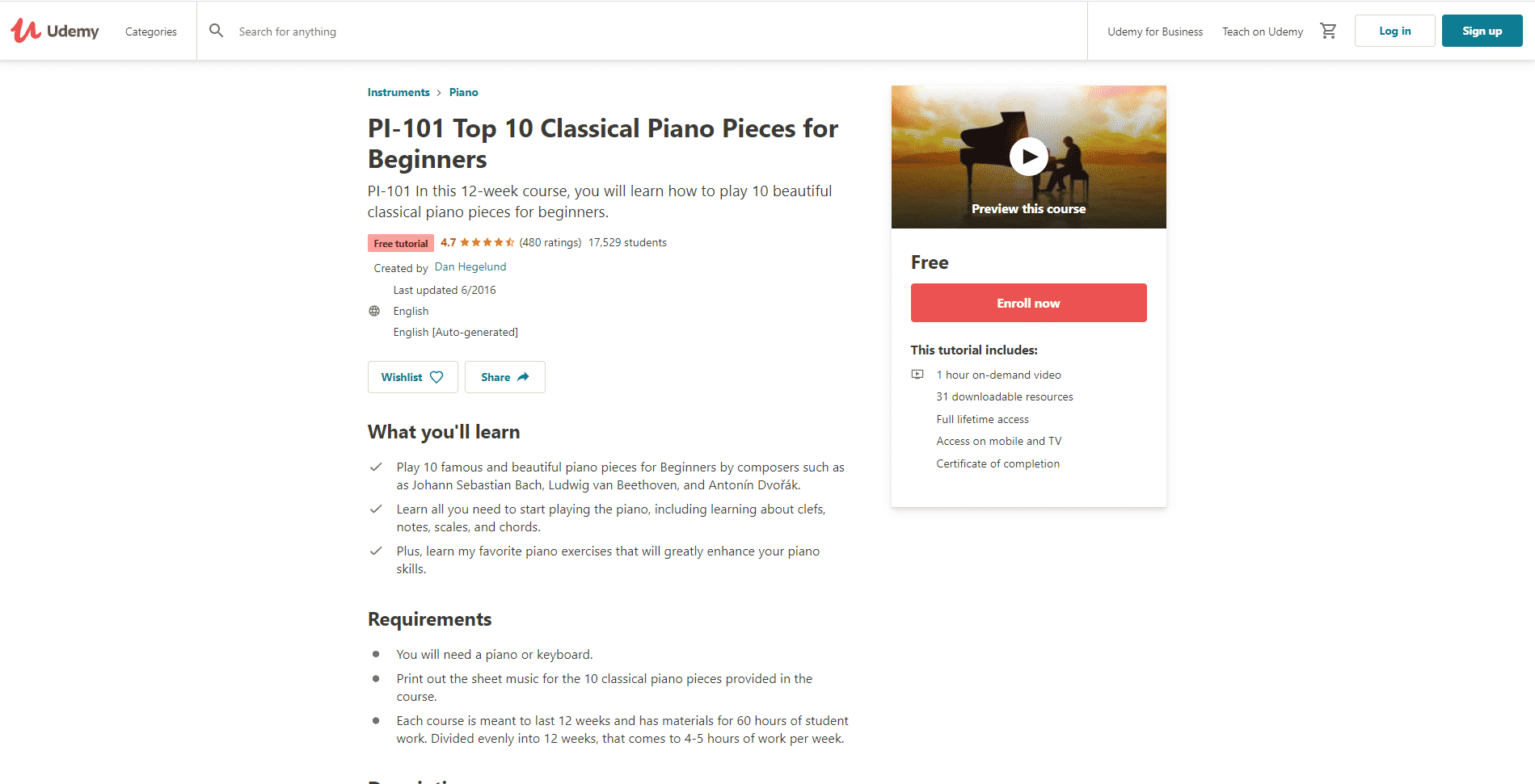 Udemy Course 4 Piano Lessons Online