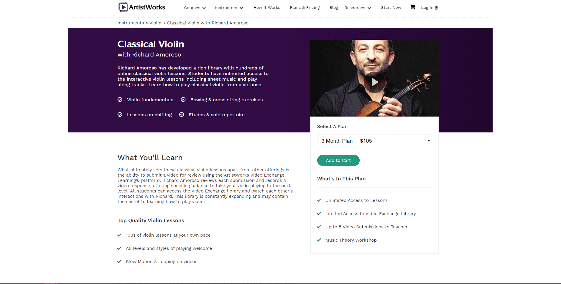 ArtistWorks Learn violin lessson for Intermediate