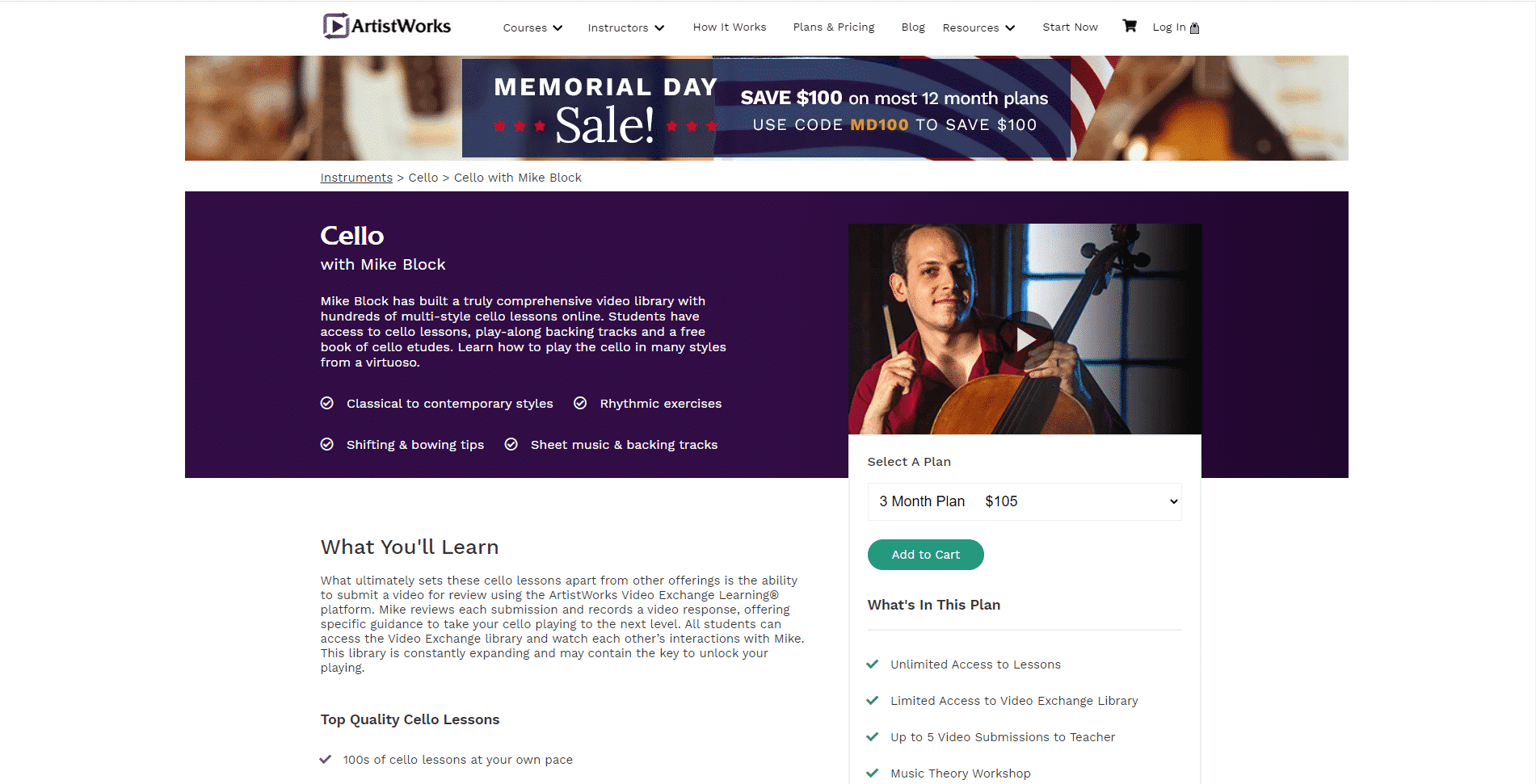 Artistworks Cello Lessons for Intermediate Online