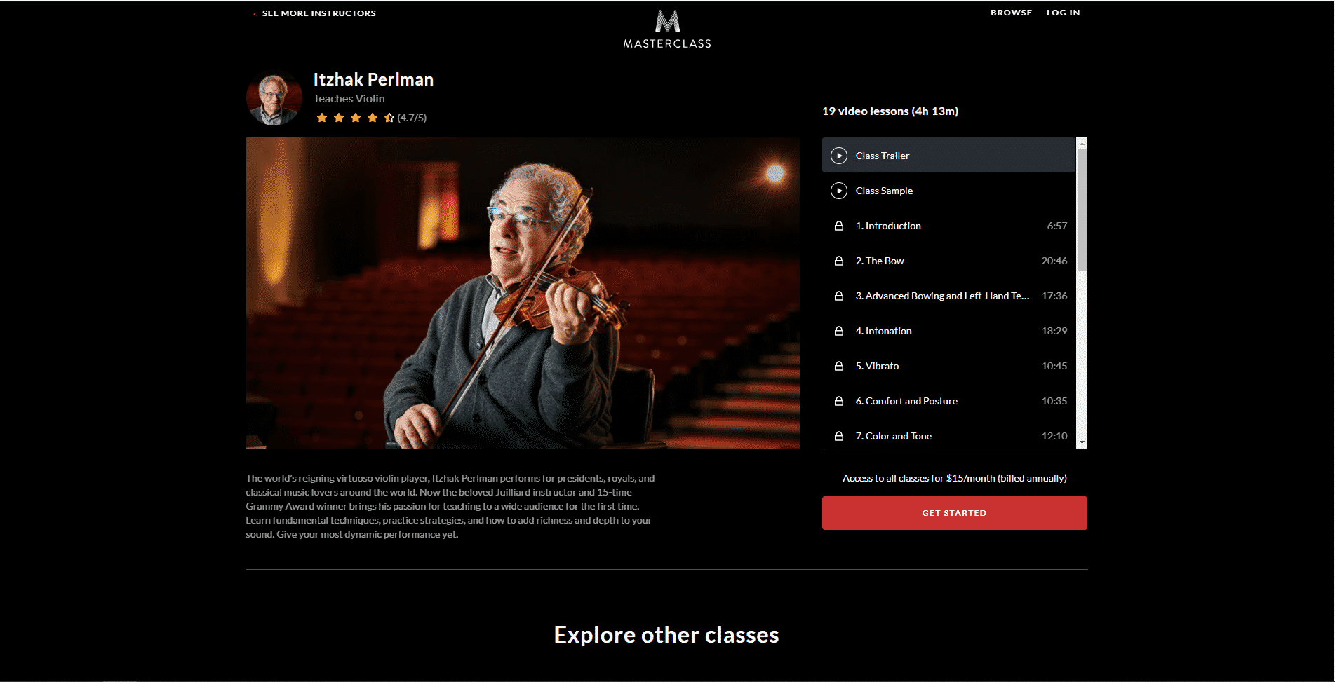 MasterClass Itzhak Perlman Learn violin lessson for Intermediate