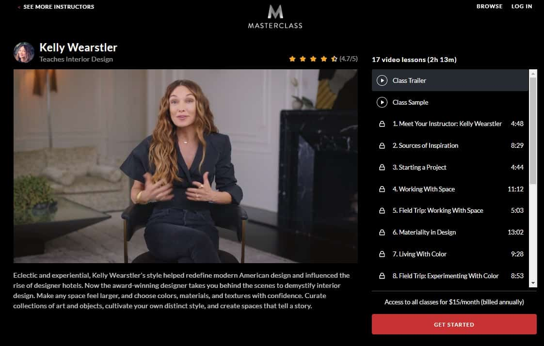 MasterClass Kelly Wearstler Interior Design Lesson Review
