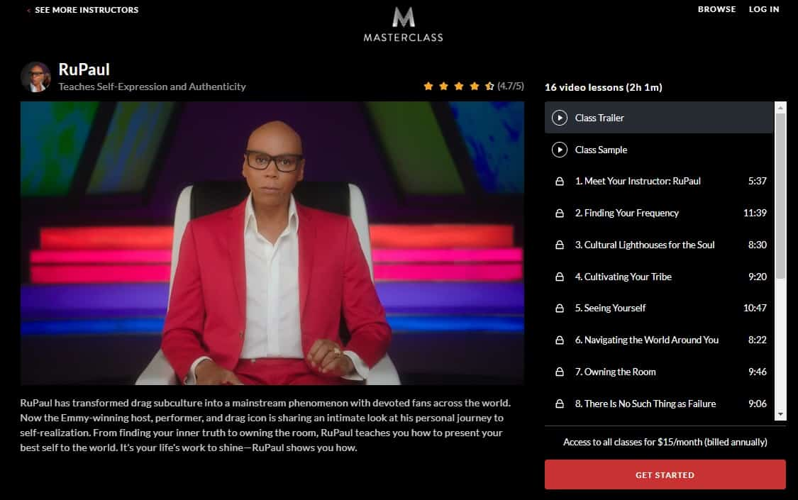 MasterClass RuPaul Self-Expression and Authenticity Lesson Review