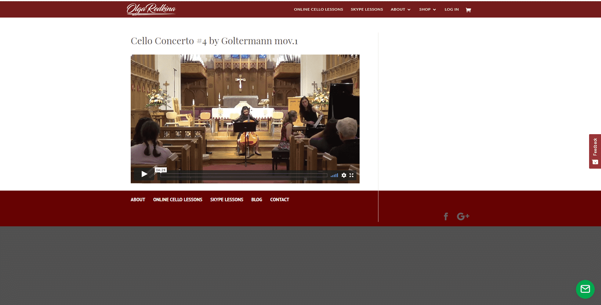 Olga Redkina Cello Lessons for Intermediate Online