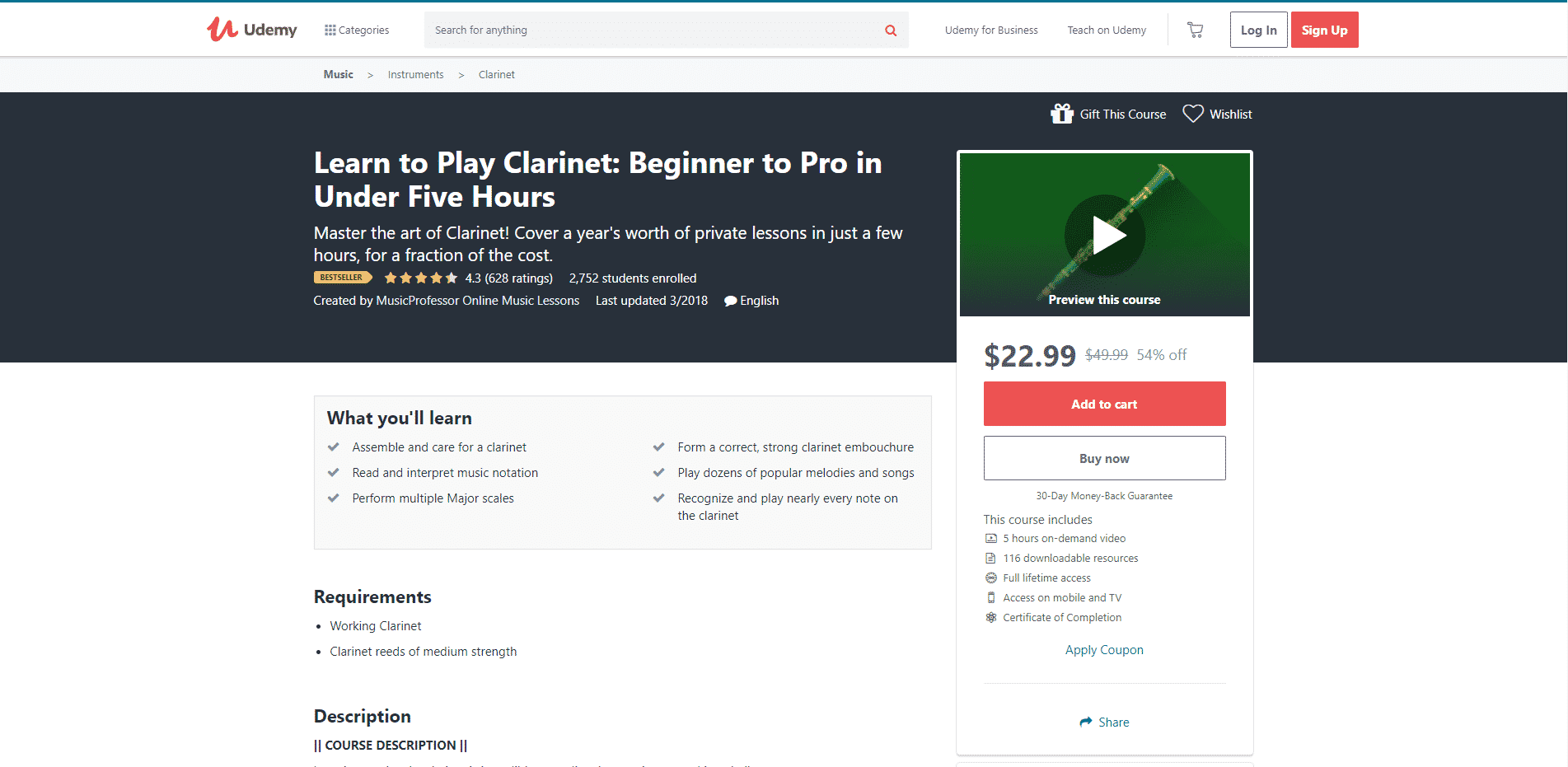 Udemy 1 Clarinet Lessons for Intermediate Online