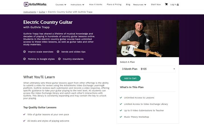 artistworks learn electric guitar lessons online