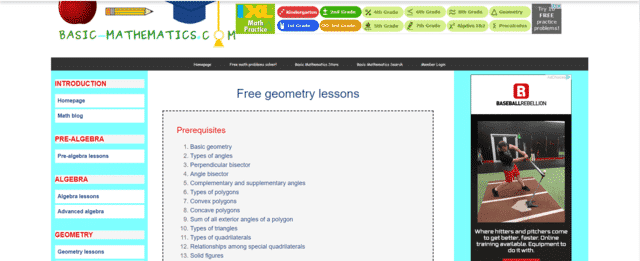 Basicmathematics Learn Geometry Lessons Online