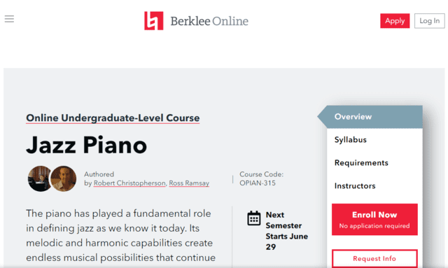 Berklee Learn Jazz Piano Lessons Online