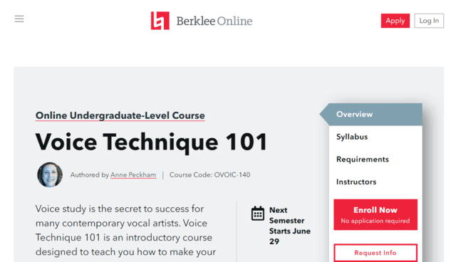 Berklee Learn Voice Lessons Online