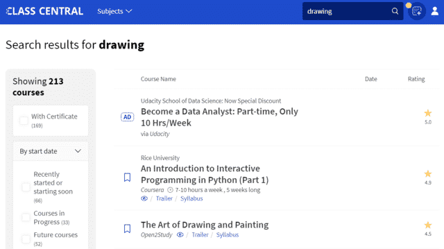 Classcentral Learn Drawing Lessons Online