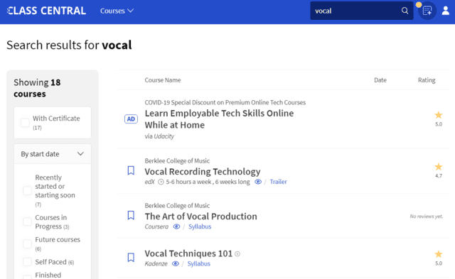 Classcentral Learn Vocal Lessons Online