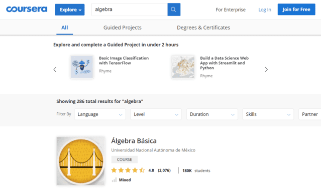 Coursera Learn Algebra Lessons Online
