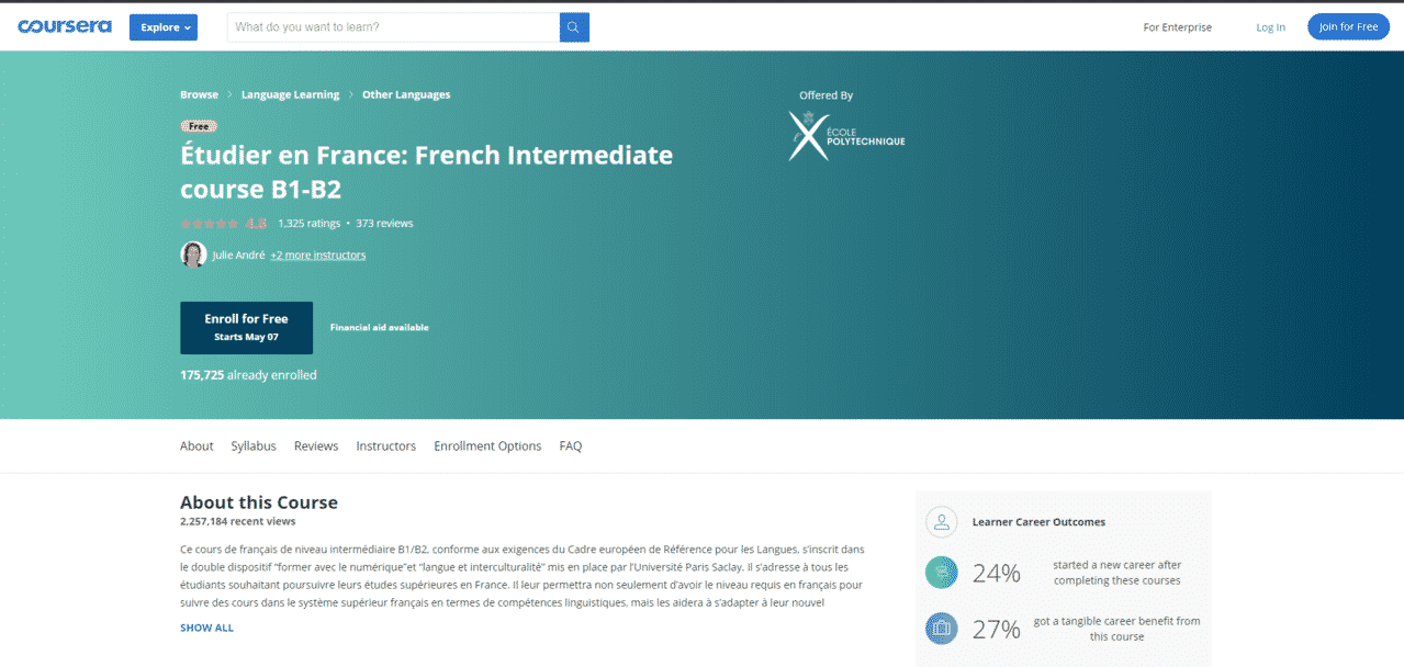 Coursera Learn French Lessons Online