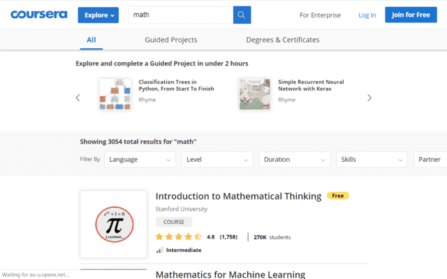 Coursera Learn Maths Lessons Online