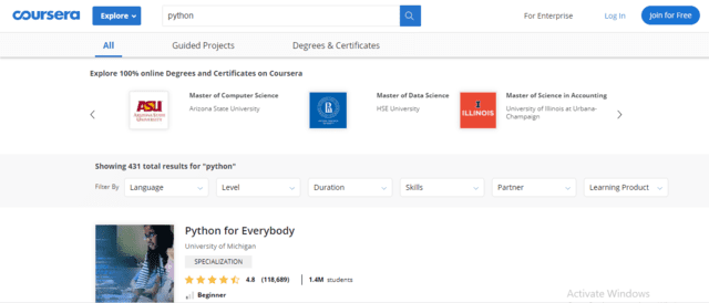 Coursera Learn Python Lessons Online