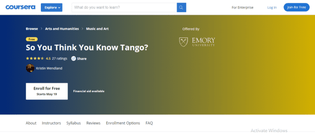 Coursera Learn Tango Lessons Online