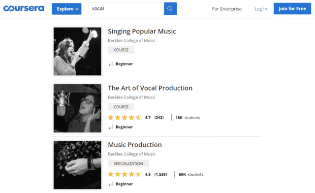 Coursera Learn Vocal Lessons Online