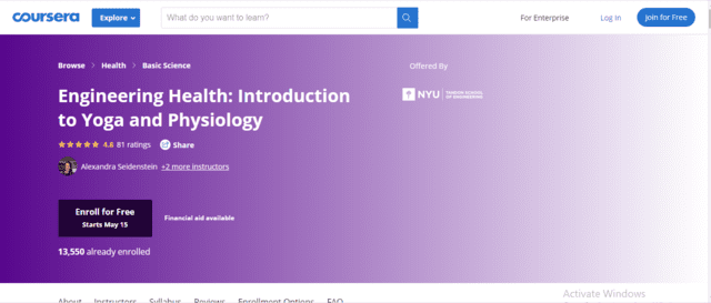 Coursera Learn Yoga Lessons Online