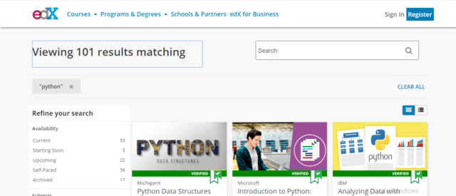 Edx Learn Python Lessons Online