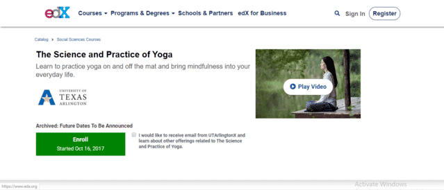 edx Learn Yoga Lessons Online