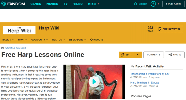 Fandom Learn Harp Lessons Online