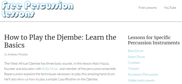 Freepercussionlessons Learn Djembe Lessons Online